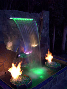 Water fall with color changing fiber optics