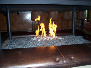 commercial restaurant fireplace converted to fireglass