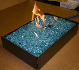azurlite fireglass on a ventless burner fireplace